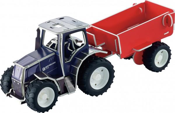 3d-puzzle-traktor-new-holland-anhänger-bausatz-tronico-30005