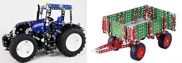 Metallbaukasten-traktor-New-Holland-T8-mit-Anhänger-tronico