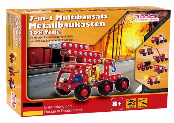 Tronico-Metallbaukasten-7in1-Feuerwehr-fahrzeuge-Starter-Multibausatz-Mint-Stem-Schule-Werkunterricht-Bauen-mit-Werkzeug-Konstruktionsspielzeug-Modellbau