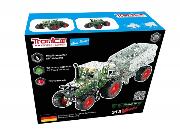 Metallbaukasten-Fendt-Vario-313-agco-Traktor-mit-Kippanhänger-spielzeug-tronico-10021