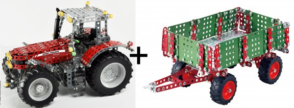 Metallbaukasten-Traktor-Massey-Ferguson-8690-mit-anhänger-Tronico-10080