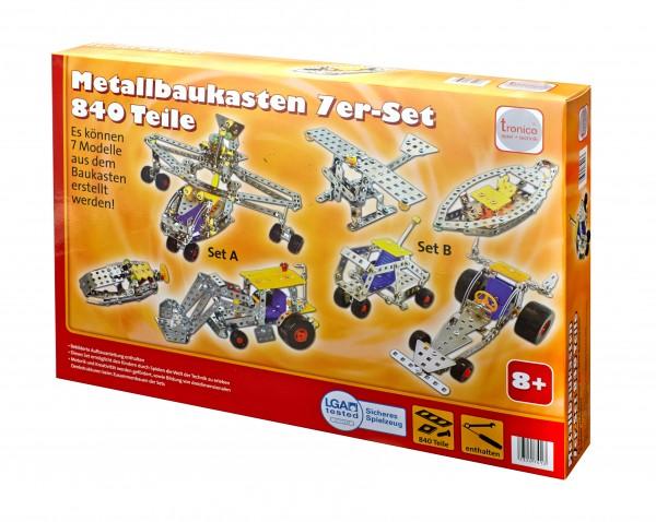 Tronico-Metallbaukasten-Multibaukasten-Starter-Einsteiger-840-Teile-7in1-Schule-Mint
