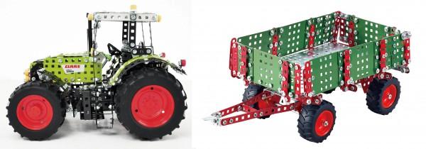 Traktor-Metallbaukasten-claas-axion-mit-anhänger-tronico