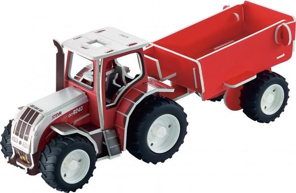Tronico-3D-Puzzle-Traktor-Steyer-Anhänger-1:32-Bausatz
